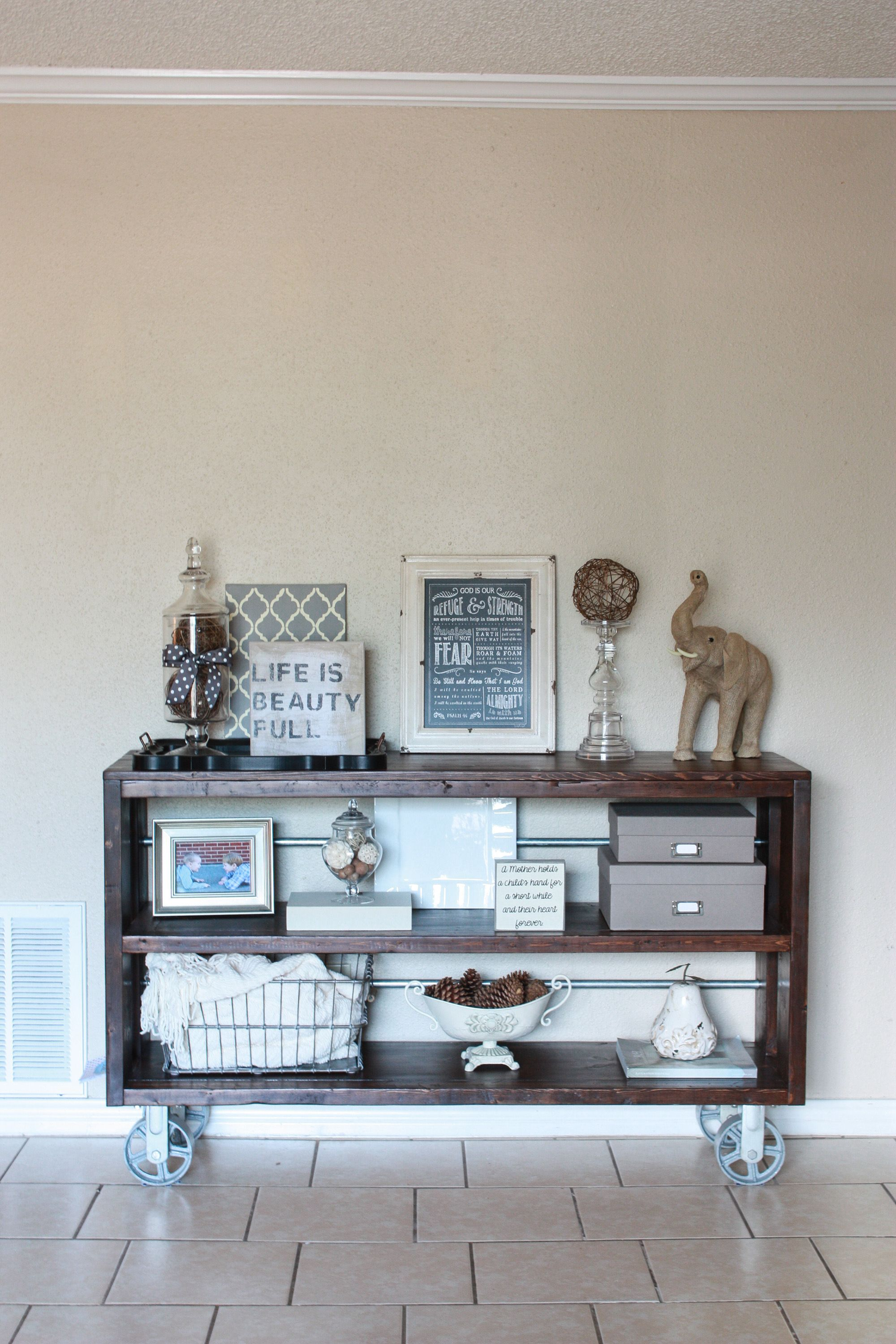 DIY Knockoff Restoration Hardware Wood Steel Console Table