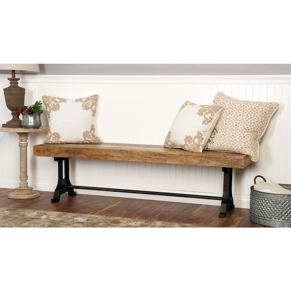 Litton Lane Modern Crossbar Wooden Bench 28744 The Home Depot In 2020 Furniture Rustic Entryway Bench Bench Decor