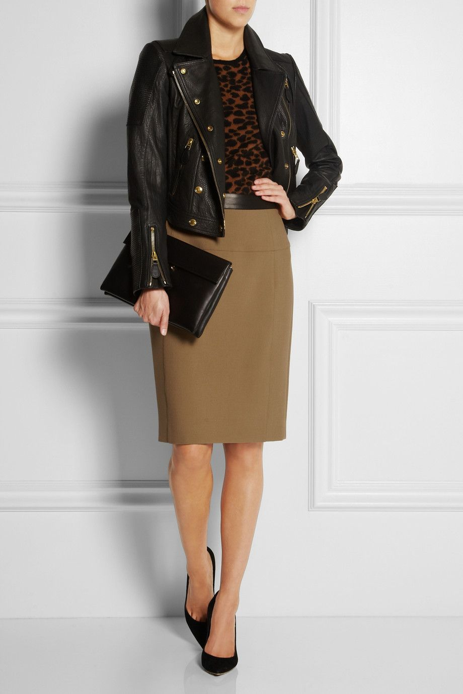 235c00063b7e79 BURBERRY LONDON Leather-trimmed stretch-crepe pencil skirt $550, Burberry  Brit jacket, Burberry Prorsum top, Fendi cuff Gianvito Rossi shoes, Marni  clutch.