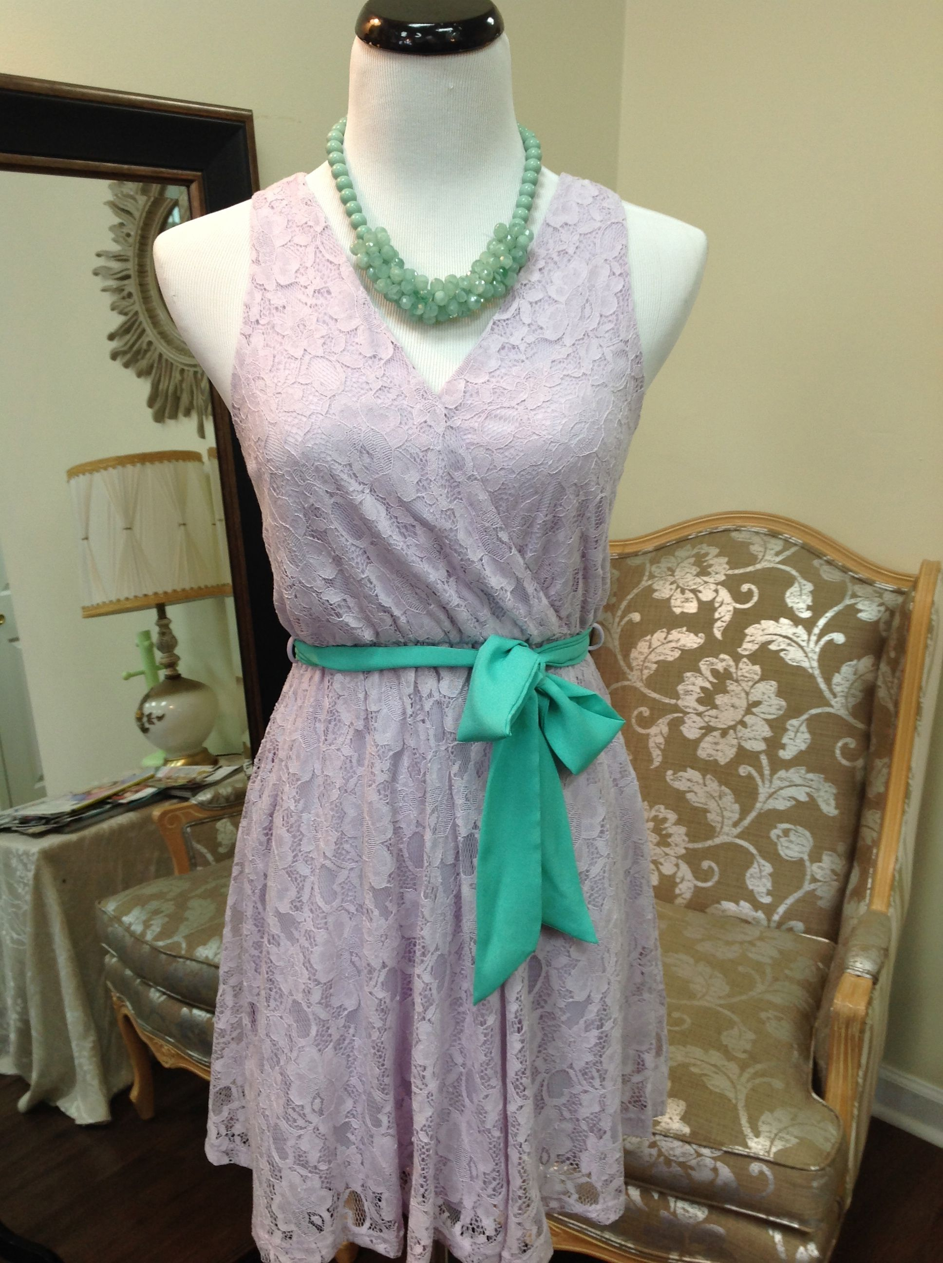 Oooh la lilac…all over lace dress with bright mint belt  S/M/L  www.sisterkatesboutique.com