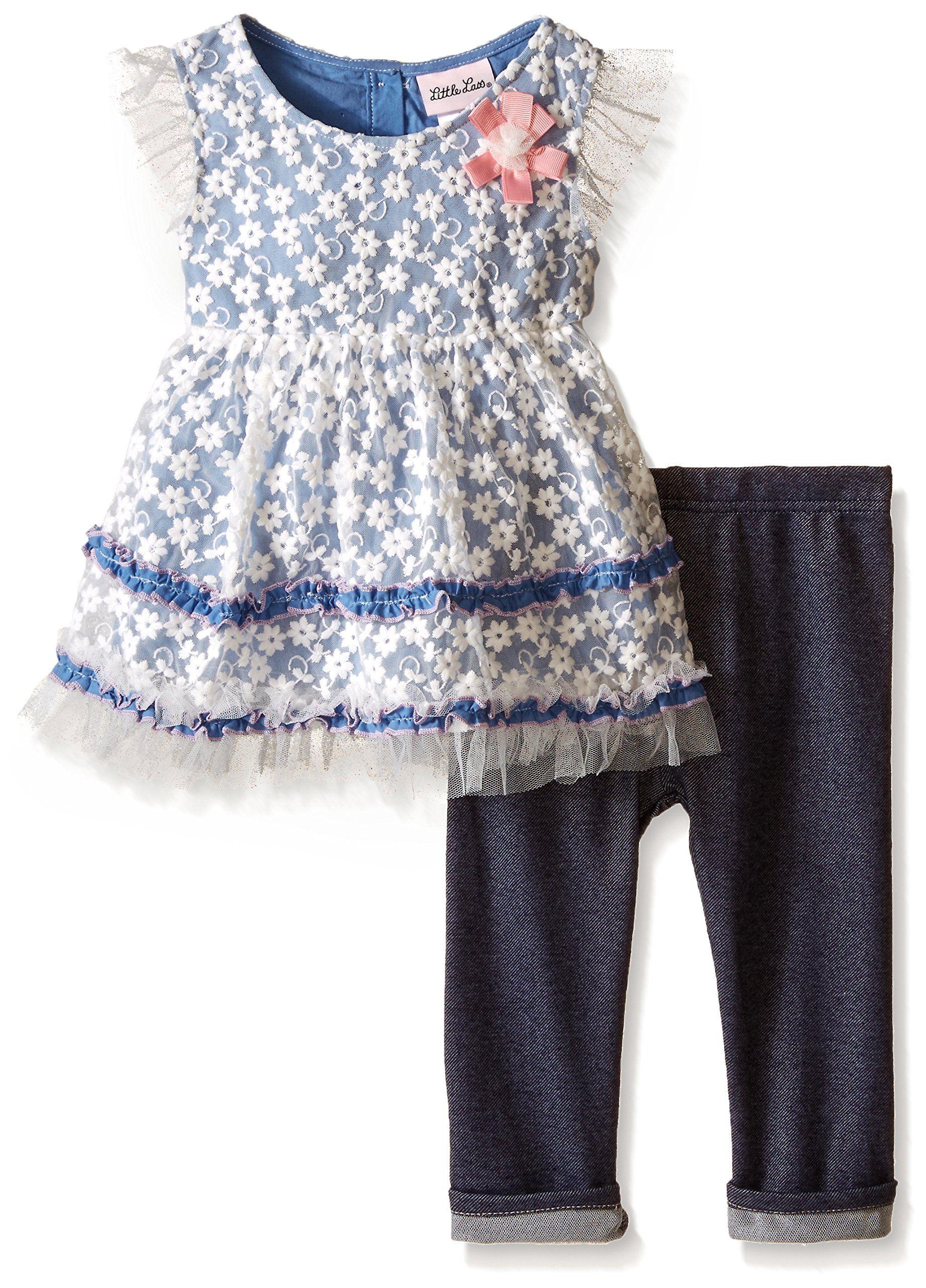 b5e328db2c496 Little Lass Baby Girls  2 Pc Capri Set Embroidered Lace