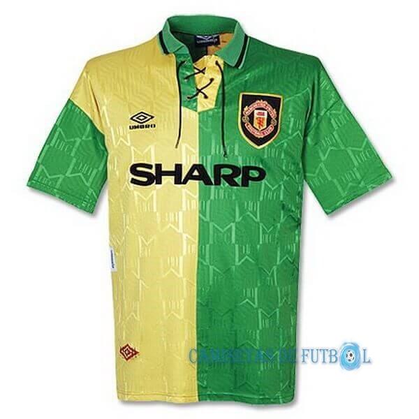 Tercera Camiseta Manchester United Retro 1992 1993 Verde Amarillo Online Football Shirts Soccer Jersey Manchester United