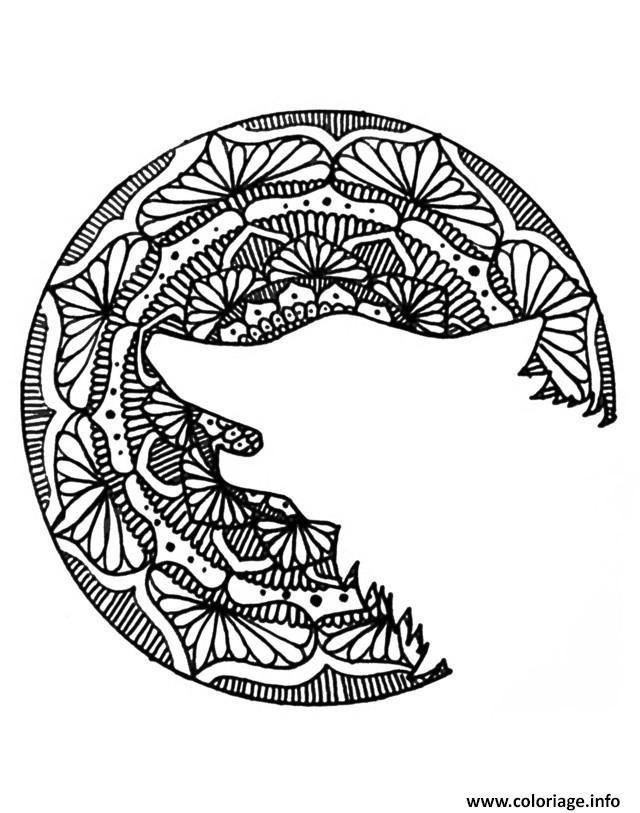 Coloriage adulte halloween mandala loup head Dessin à Imprimer ...