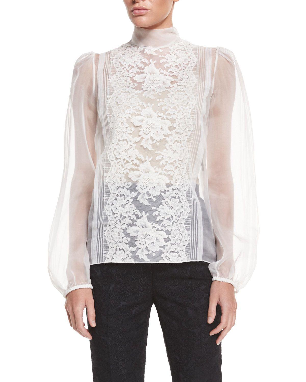 3f3affbc2910b6 Long-Sleeve Sheer Blouse W Lace Trim
