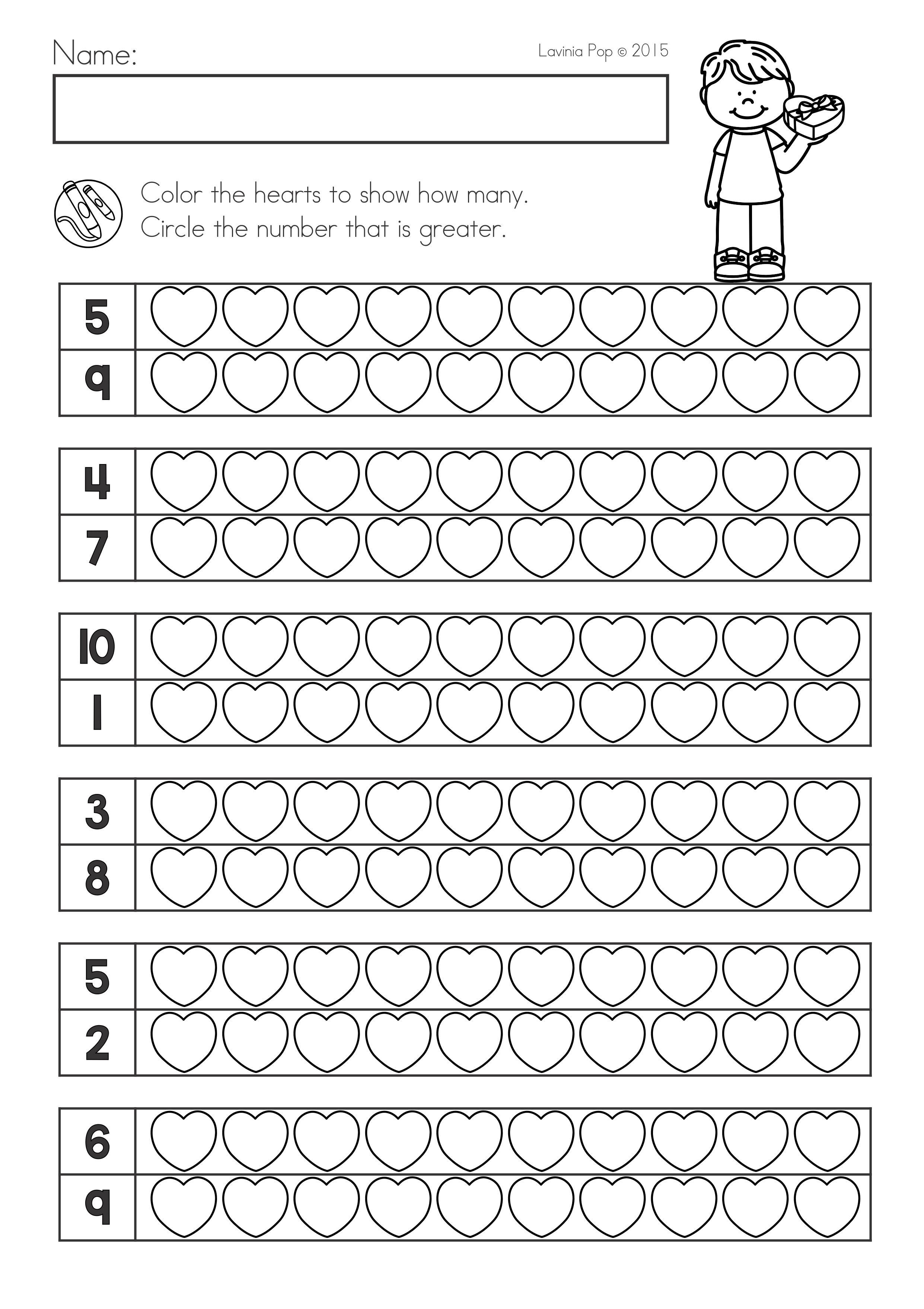 Valentine S Day Math Literacy Worksheets Activities No Prep Comparing Numb Valentine Math Worksheet Kindergarten Math Worksheets Math Activities Preschool [ 3515 x 2482 Pixel ]