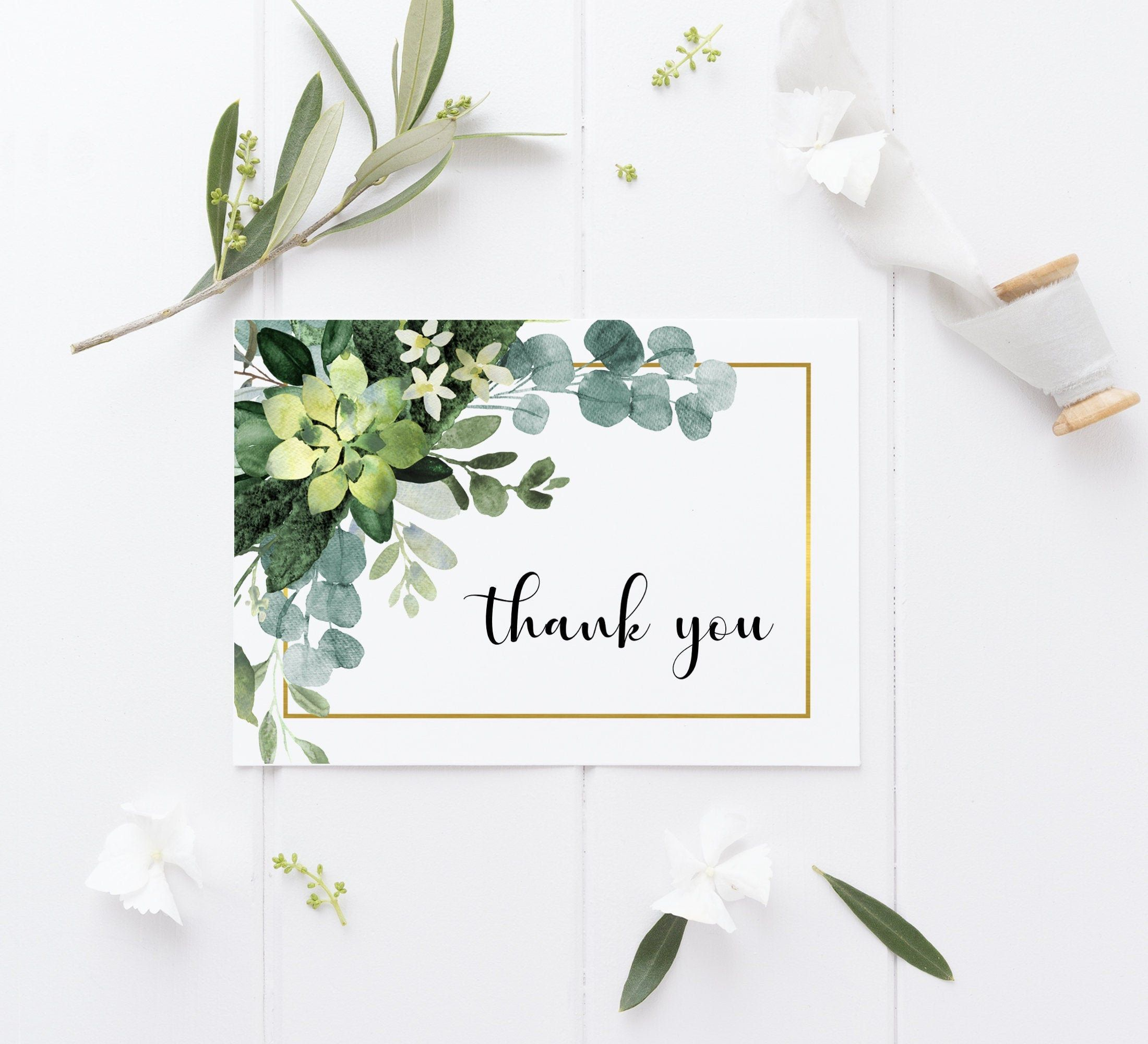 Greenery Thank You Card Printable Succulent Thank You Card Etsy Thank You Card Design Thank You Card Template Birthday Cards