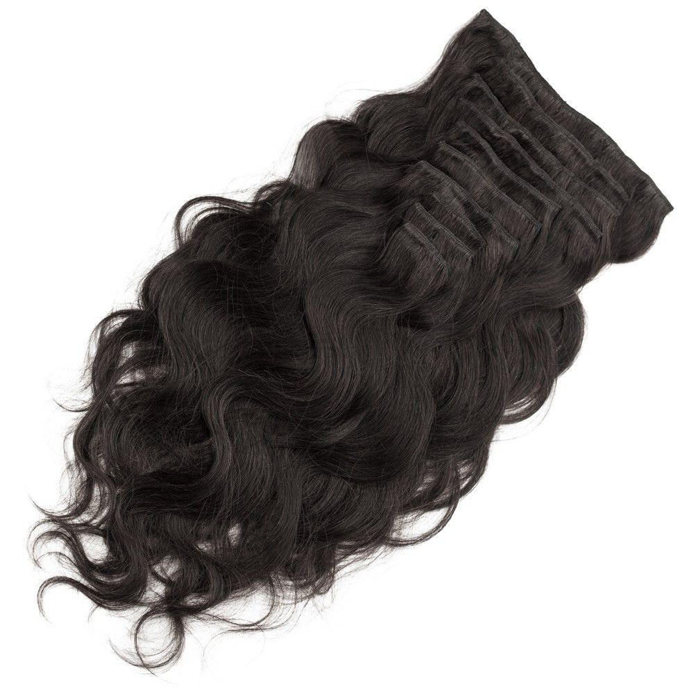 10pcs Body Wavy Clip In Remy Hair Extensions 1b Natural Black