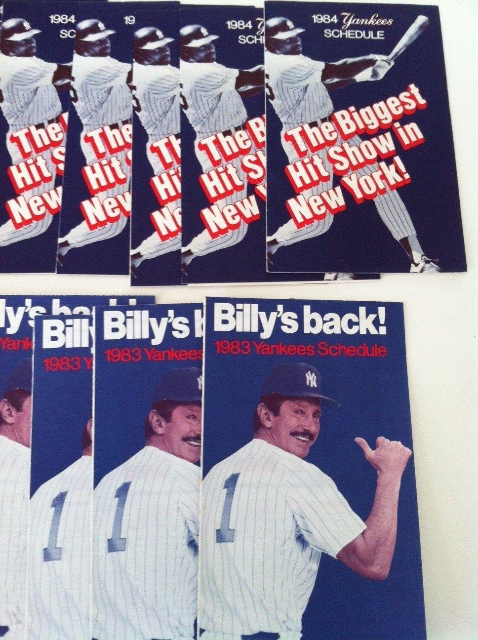 80s Yankee Schedules Lot Billy Martin Yankees Schedule Yankees Billy Martin