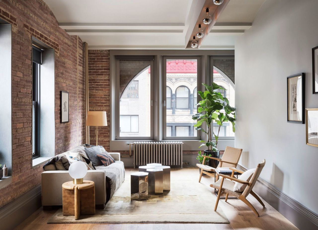 New York Loft Style Living Room Color Schemes With Gray Couch Exposed Brick H O M E Pinterest