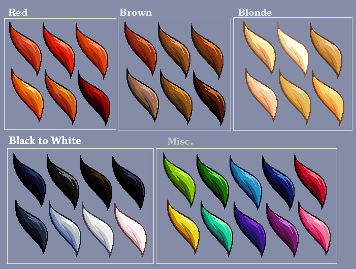 Hair Colour Swatches By Lizalot On Deviantart Hair Color Swatches Color Swatches Anime Hair Color