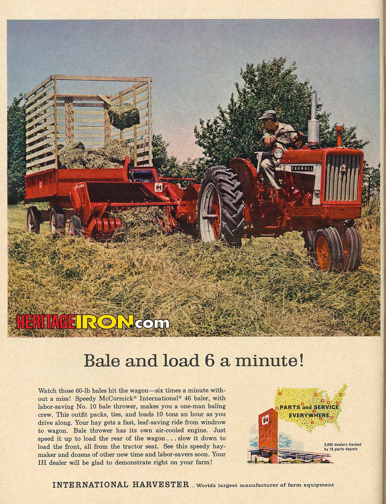 The speedy McCormick International 46 baler with the No. 10 bale thrower  makes you a one-man baling crew! (Farm Quarterly - Summer 1962)  #VintageAdWednesday