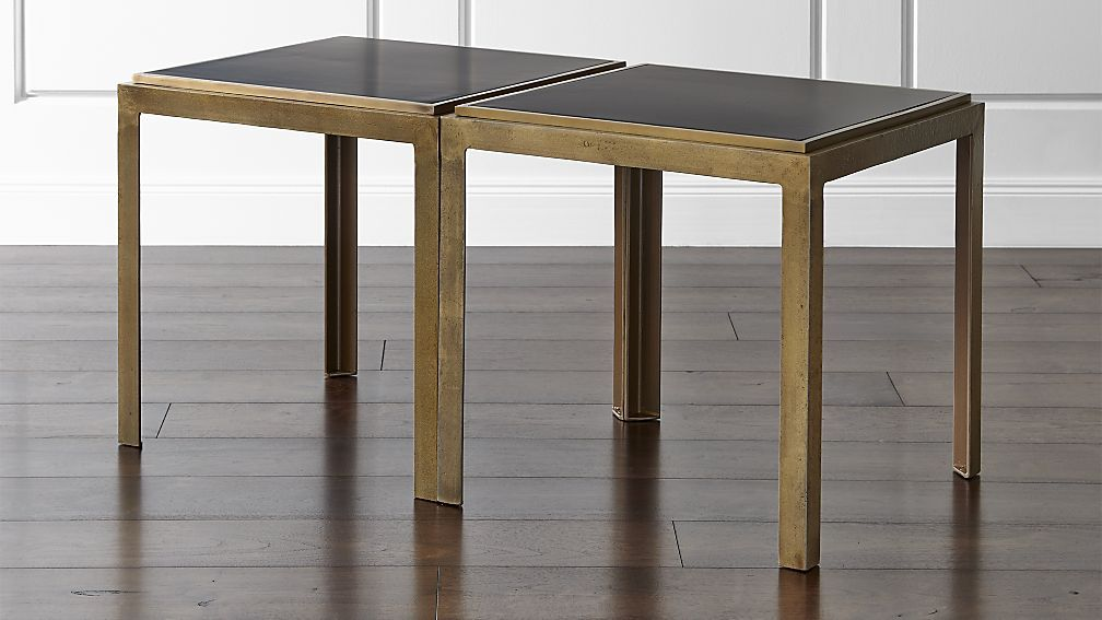 Set Of 2 Pascal Bunching Tables Crate And Barrel Idea 2 Higher Side Tables That Can Be Pulled Together In Fr Coffee Table Living Room Coffee Table Table
