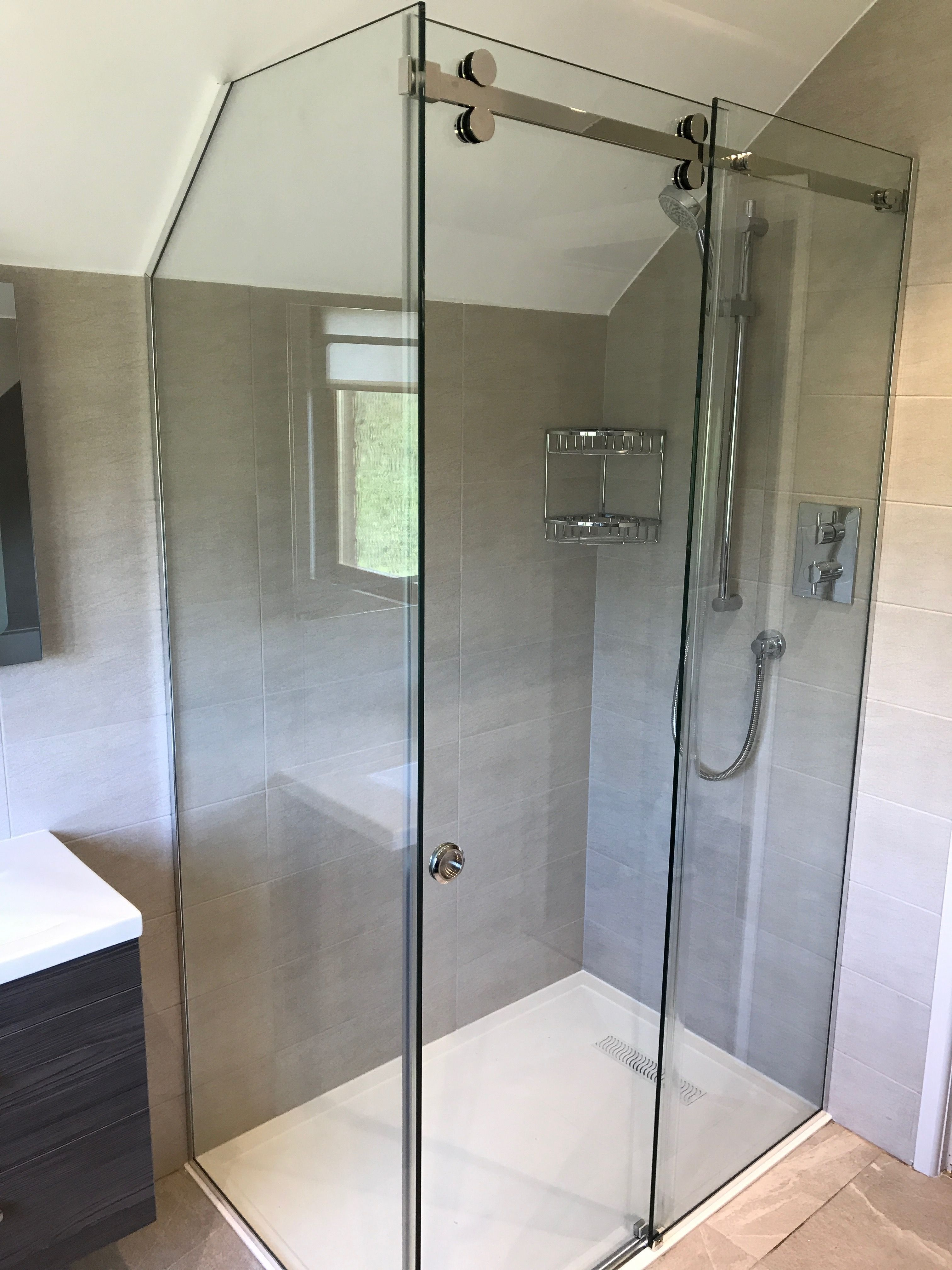 Reduced Height Sliding Shower Enclosure And Shaped To Angled