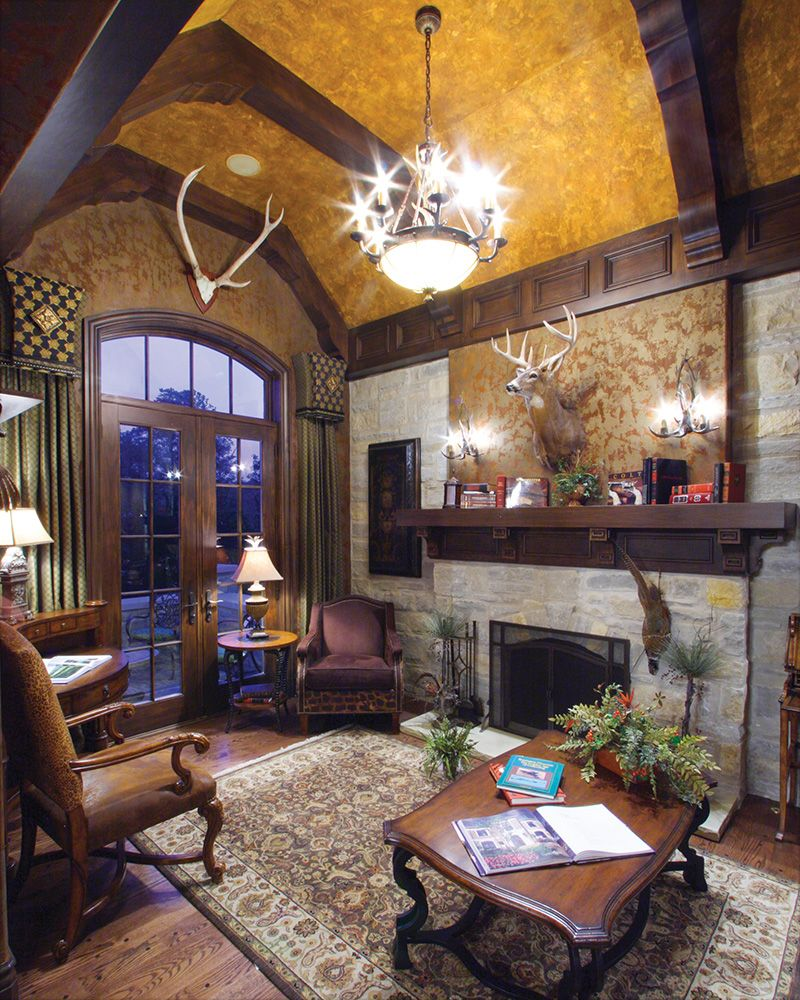 Luxury Custom Home Design: Luxury Den Is Cozy In Plan 065S-0034