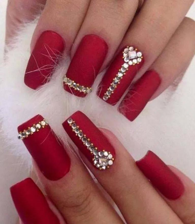 24 Winter Chic Matte Red Nails 19 Bridal Nail Art Bridal Nails Luxury Nails
