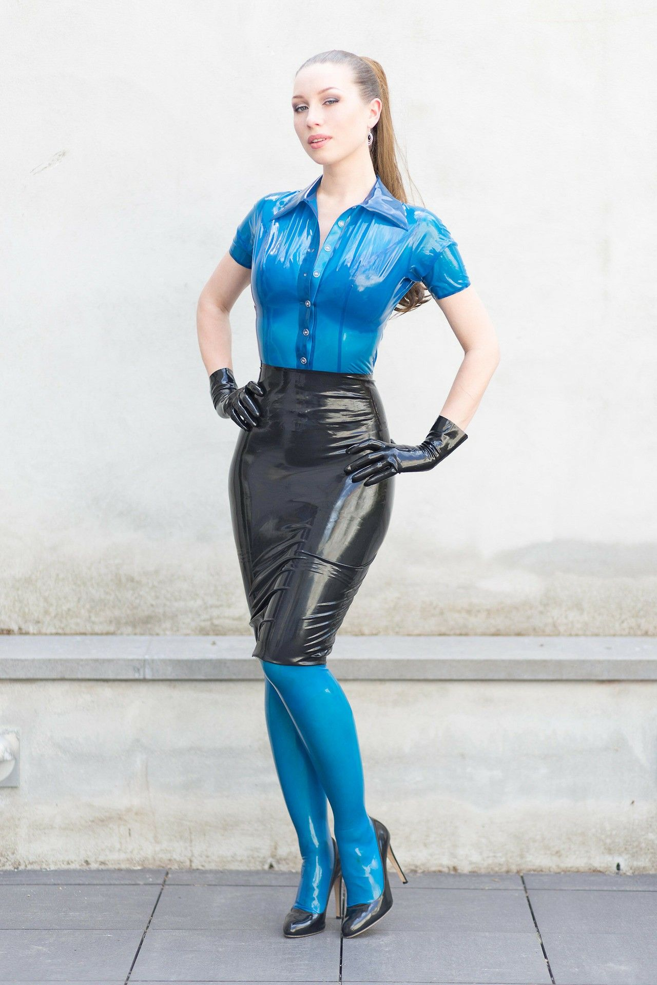 Blue latex top and leggings with black latex pencil skirt