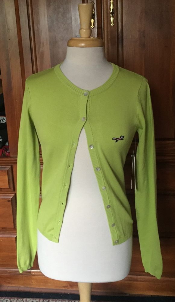 NWT Retro Fox Lime Green Cardigan Sweater Womens Small Pinup ...