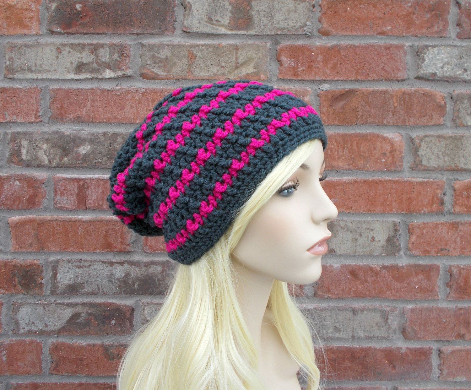 de5b73fd2ea37 Charcoal Gray Beanie Long Beanie Dark Grey and Hot Pink Striped Hat Slouchy  Beanie for Women Teenage Girl Gift Teen Hats by foreverandrea on Etsy