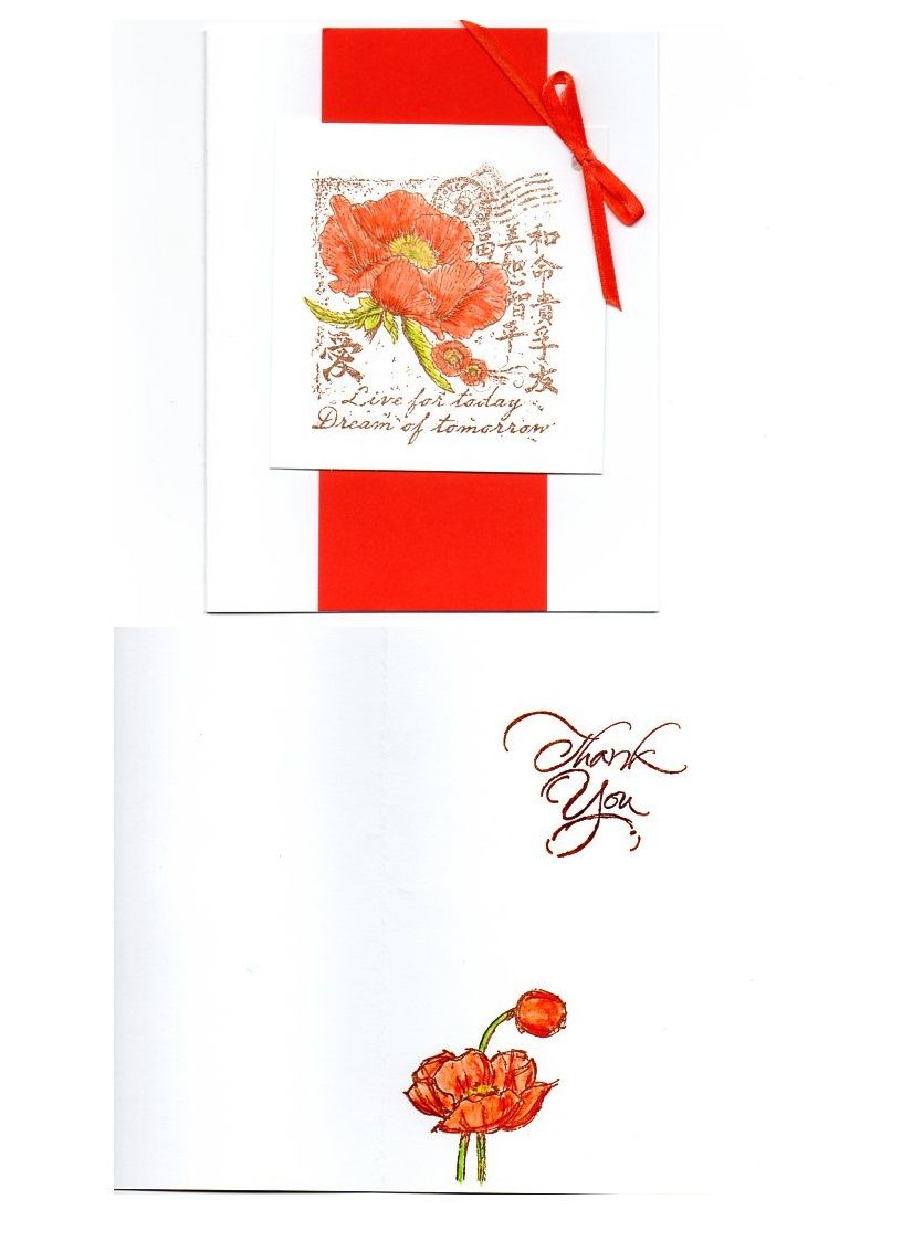 Outside and inside of a thank you card. Flowers are hand colored ...