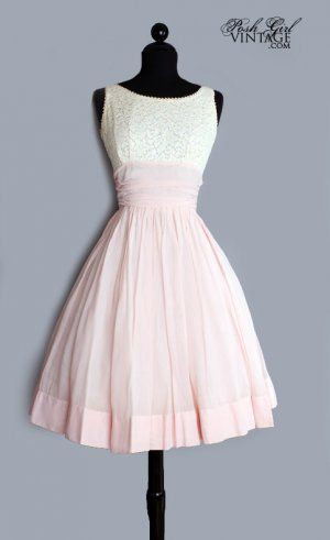1950's Pink & Cream Lace Tea Length Cotton Dress...
