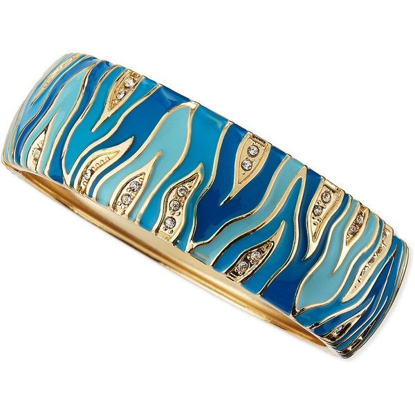 Sequin. Wide Zebra Bangle, Blue. A mix of animal print-inspired enamel, bright golden settings, and light-catching crystals make this Sequin bangle a party-per…
