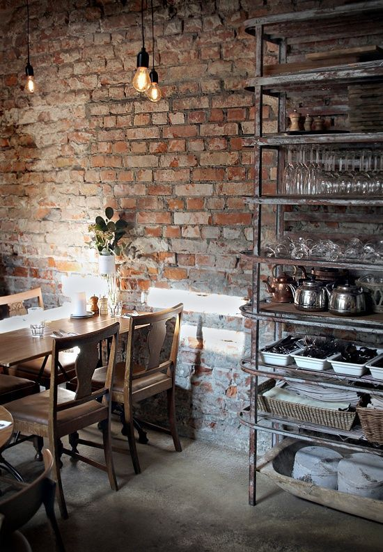 Brick Wall, Wooden Table And Chairs And Metal Shelf   Industrial Interior  Design Repin By