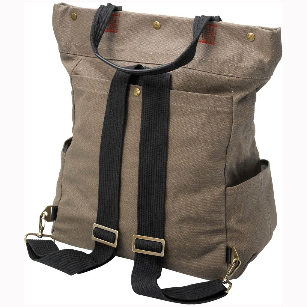 Converts from shoulder tote with three-snap closure to a streamlined backpack. Perfect diaper bag.