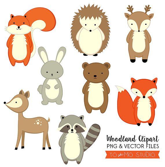Woodland Animals Clip Art Vectors Invitation Crafting Etsy In 2021 Clip Art Woodland Animals Woodland