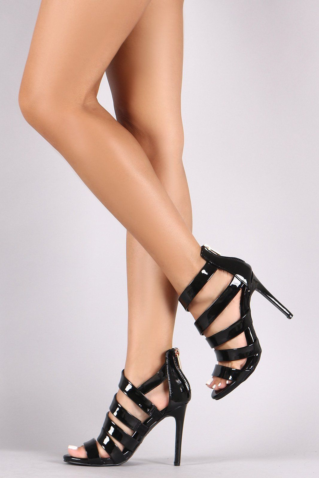 Anne Michelle WomensLadies High Heel Cut Out Shoes With Buckle Ankle Strap  VF1MOSSSW