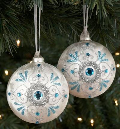 Turquoise blue christmas ornaments with rhinestones christmas weihnachten christbaumschmuck - Blaue christbaumkugeln ...