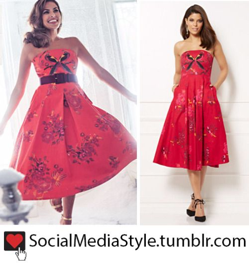 Buy the NY&C Eva Mendes Collection Red Strapless Bird and Floral Print Dress, here!