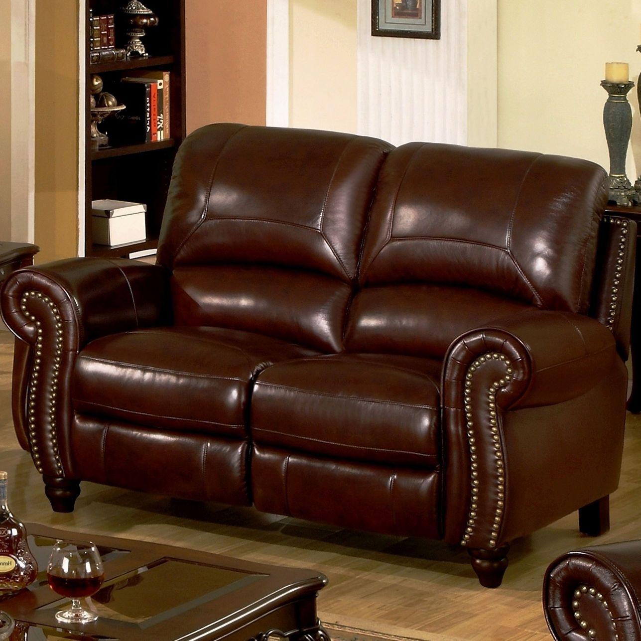 Abbyson Leather Sofa Presley Espresso Reclining Living Charlotte Loveseat