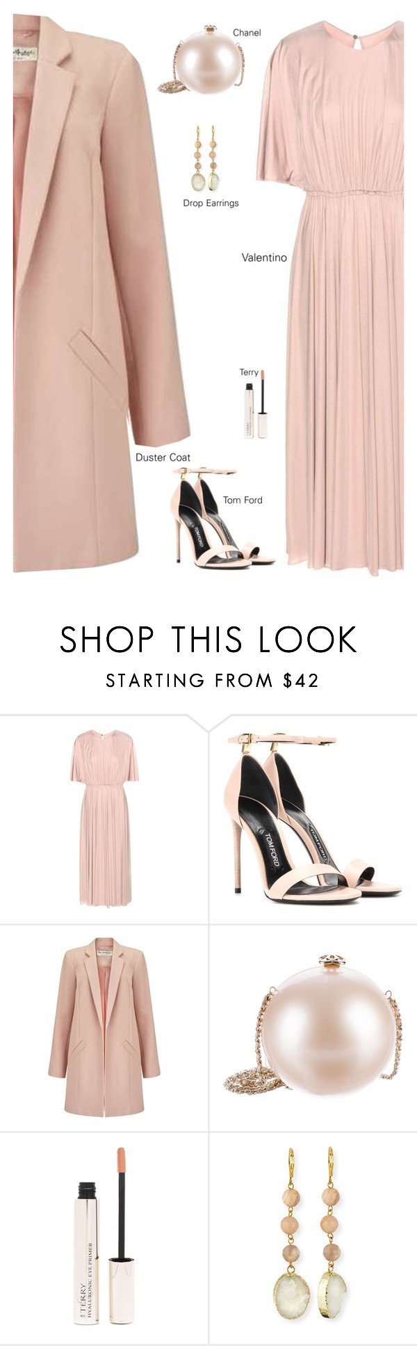 """""""Neutrals"""" by jan31 ❤ liked on Polyvore featuring Valentino, Tom Ford, Miss Selfridge, Chanel, By Terry, Panacea, neutrals, blush, embellished and DusterCoats"""