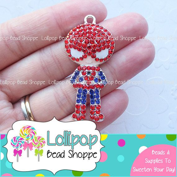 46mm SPIDERMAN Rhinestone Pendant Super Hero Chunky Necklace Pendant Spider Man Character Pendant Bubblegum Beads Bubble Gum Beads RP45