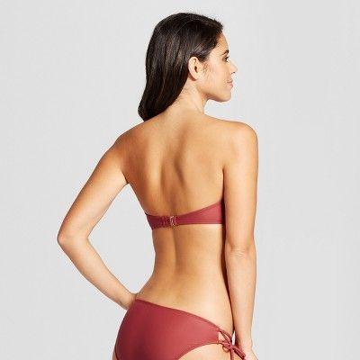 6878e2f0b3 Women s Lace-Up Bandeau Bikini Top - Xhilaration Sienna XL