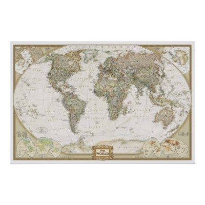 Antique World map poster print | Home decor | Pinterest | Wall maps ...