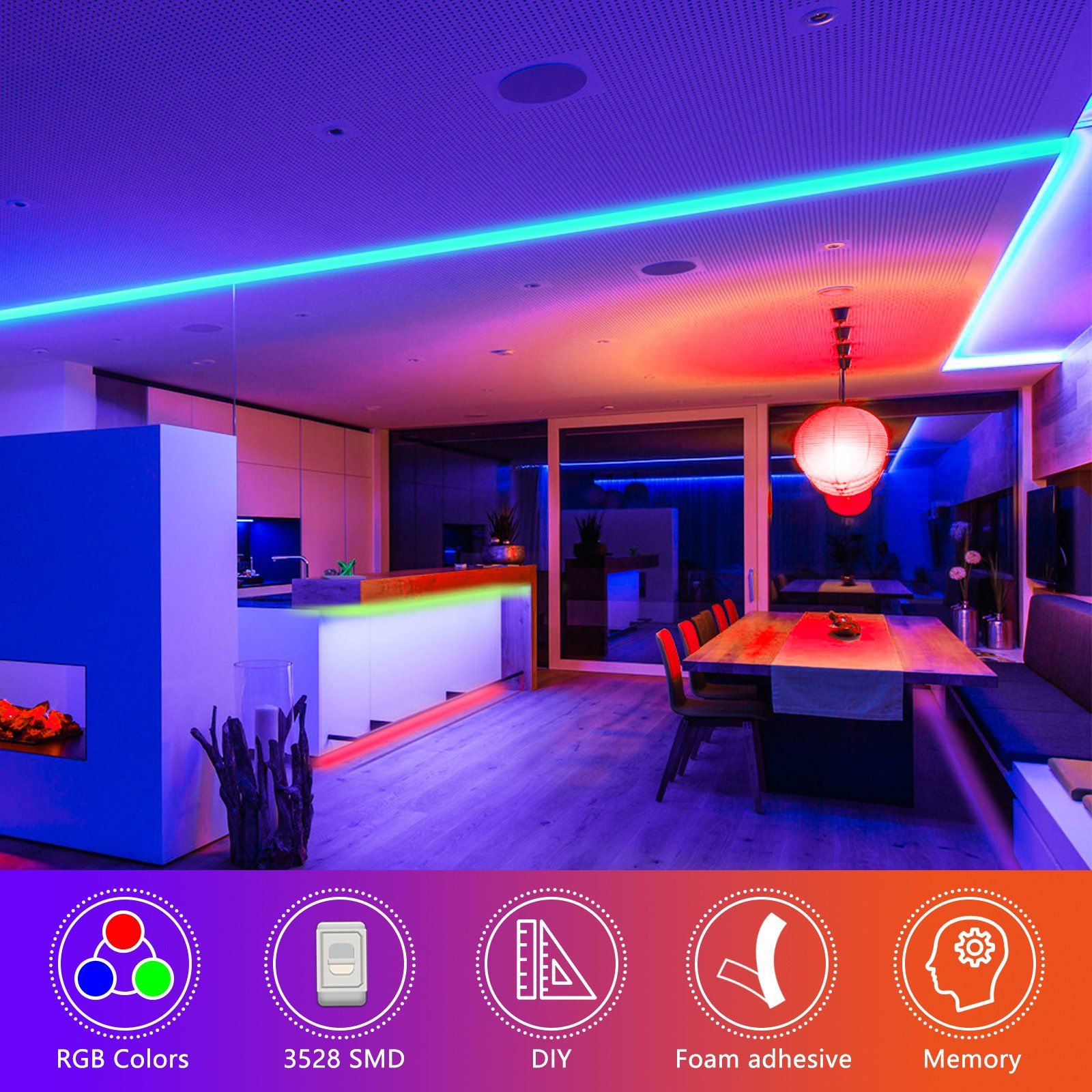 Tsv 16 4ft 5m 300led Rgb Muliticolor Changing Flexible Led Rope Lights Tv Backlight Tape Strip Light Kit Waterproof With 44key Ir Remote Control 8 Brightness L In 2020 Strip Lighting Led Strip Lighting