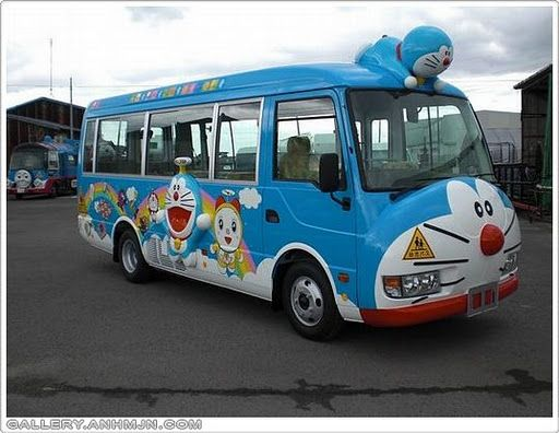 A Japanese cartoon character bus: Doreamon Bus    Source: http://bit.ly/WKKg5r    © NO COPYRIGHT INFRINGEMENT INTENDED. We don't own this image. All rights and credit go directly to its rightful owner.