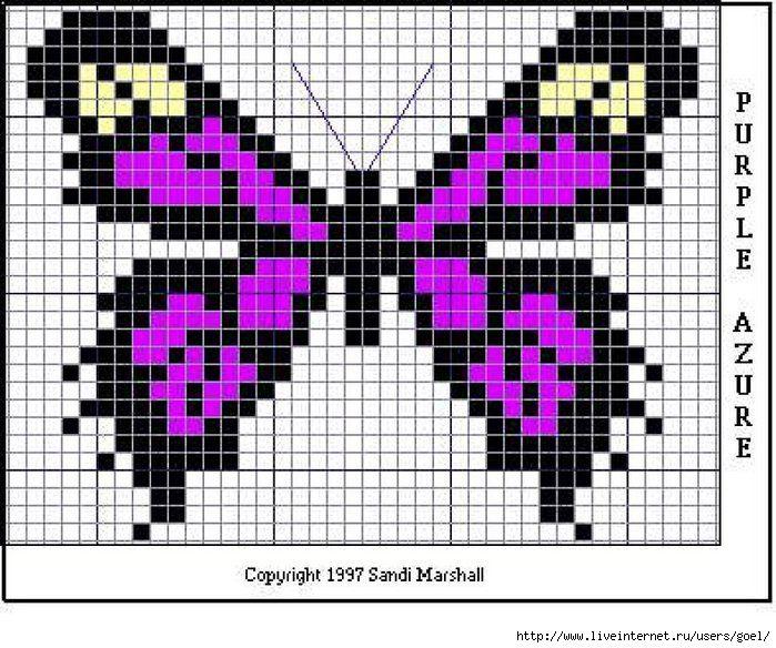 Картинки по клеточкам маленькие бабочки