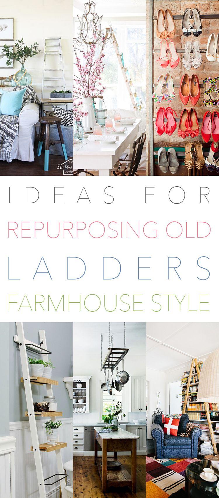 47 Ideas for Repurposing Old Ladders Farmhouse Style + DIYS ...