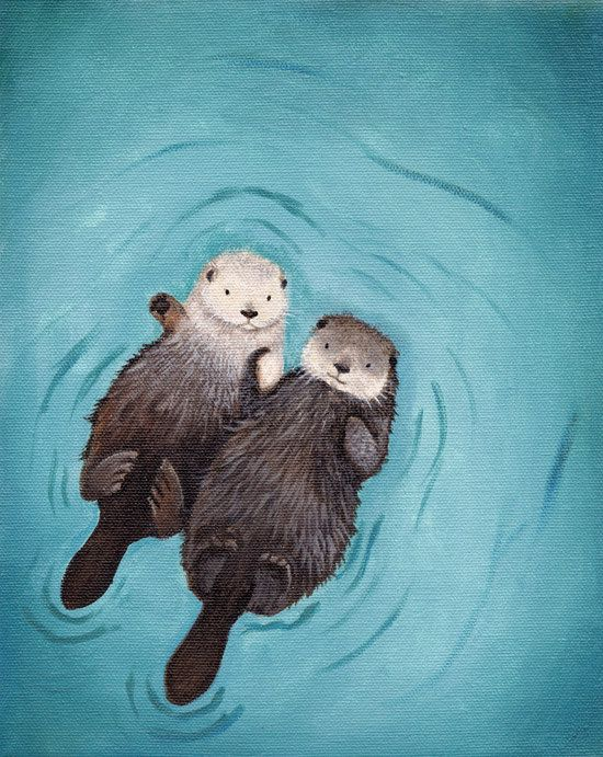 Otters Holding Hands in Love Art print of original otter painting - perfect for Valentine's Day