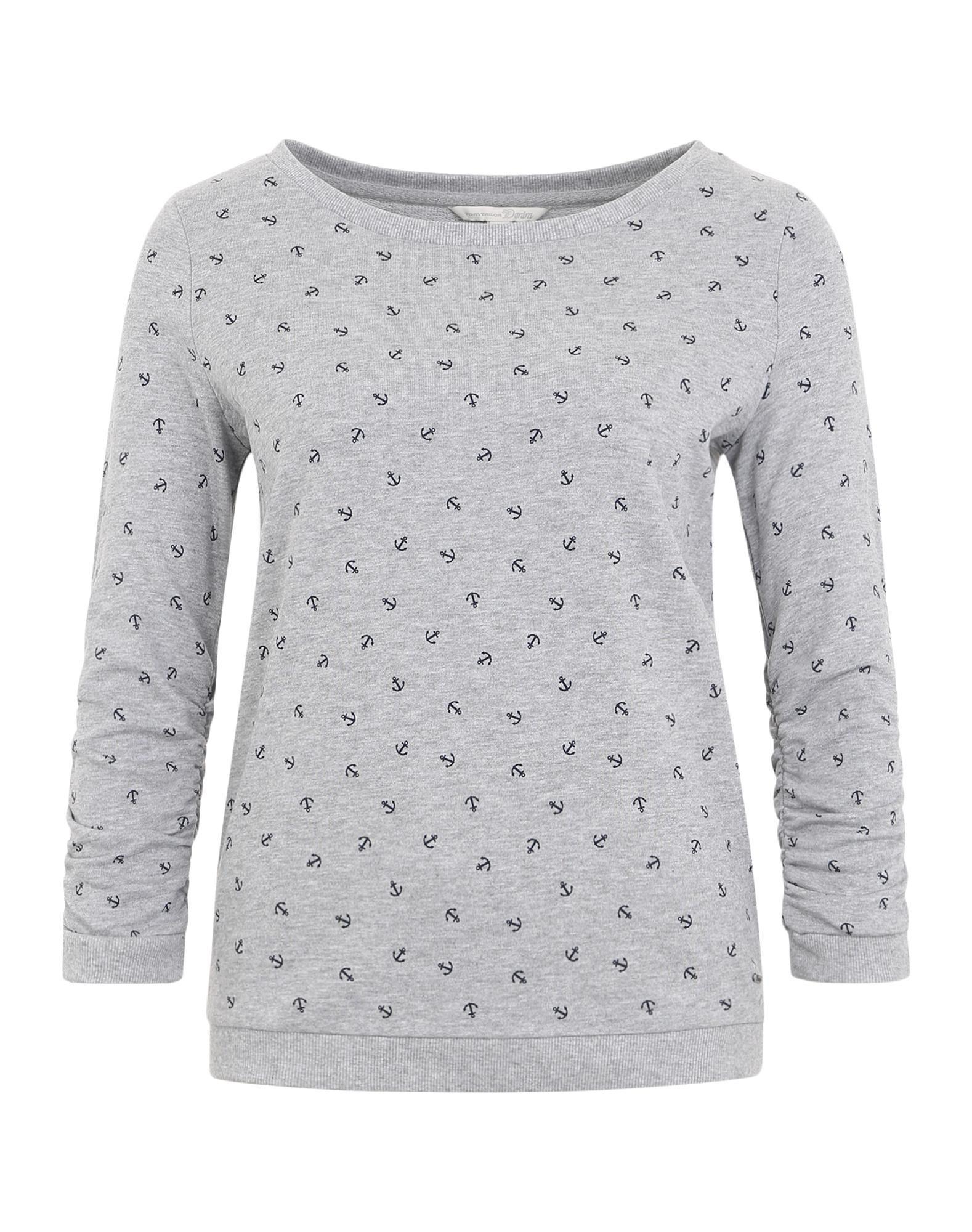 TOM TAILOR DENIM Sweatshirt mit gerafften Ärmeln in Graumeliert bei ABOUT YOU bestellen. ✓Versandkostenfrei ✓Zahlung auf Rechnung ✓kostenlose Retoure