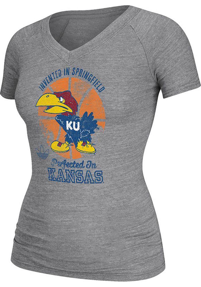 Kansas Jayhawks Adidas T Shirt Jayhawks Grey Perfected Kansas