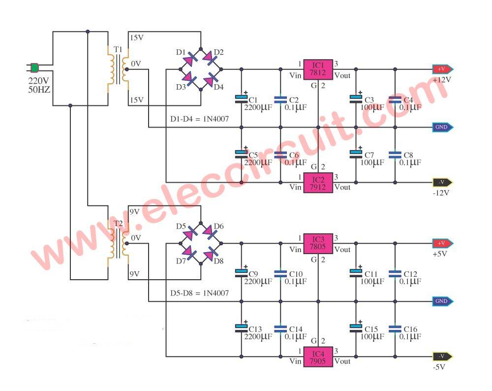 Multi Voltage Power Supply Circuit Using Ic 78xx Series Volt Regulator 7805