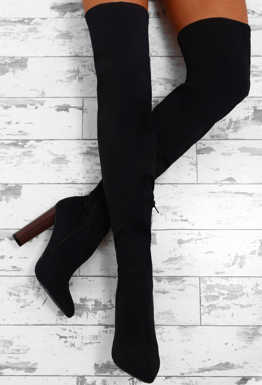 f4e77edbfc4 Truth Or Dare Black Faux Suede Over The Knee Block Heel Boots
