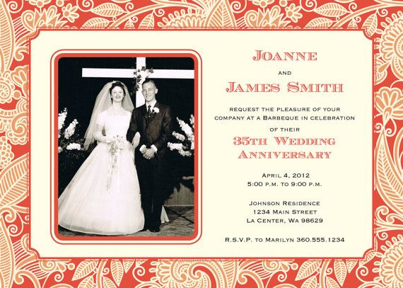 35th Wedding Anniversary Invitation Coral By Brenabeedesigns