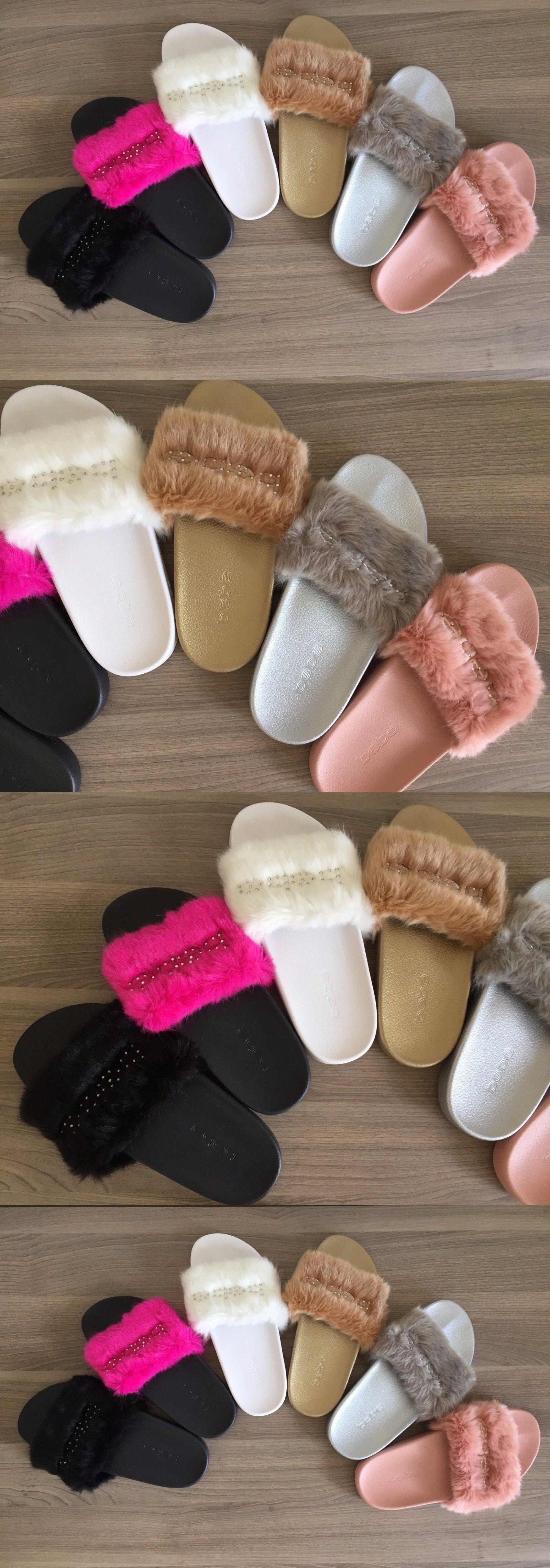 GREAT DEAL bebe Slide Logo Faux Fur FURIOSA Women/'s Slides Sandals
