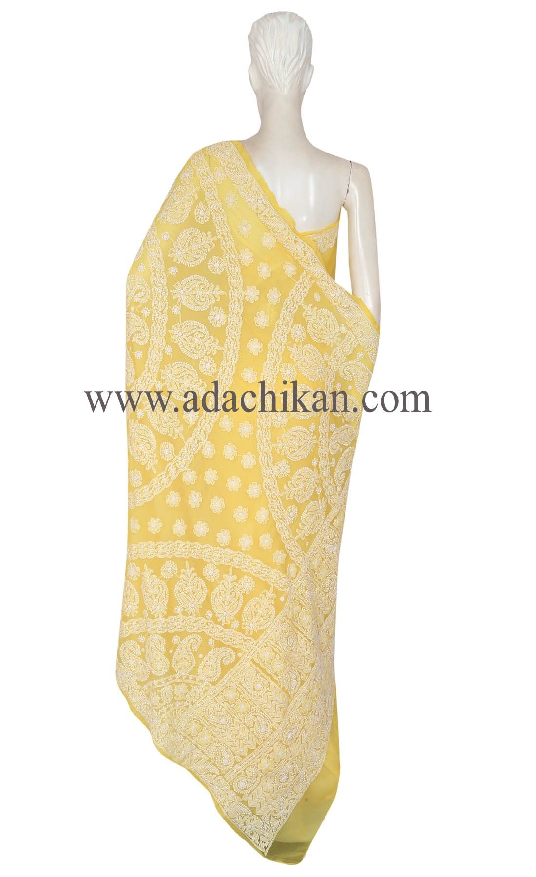 Ada Hand Embroidered Yellow Faux Georgette Lucknow Chikan Saree With Blouse- A193202 - Women Chikan Wear