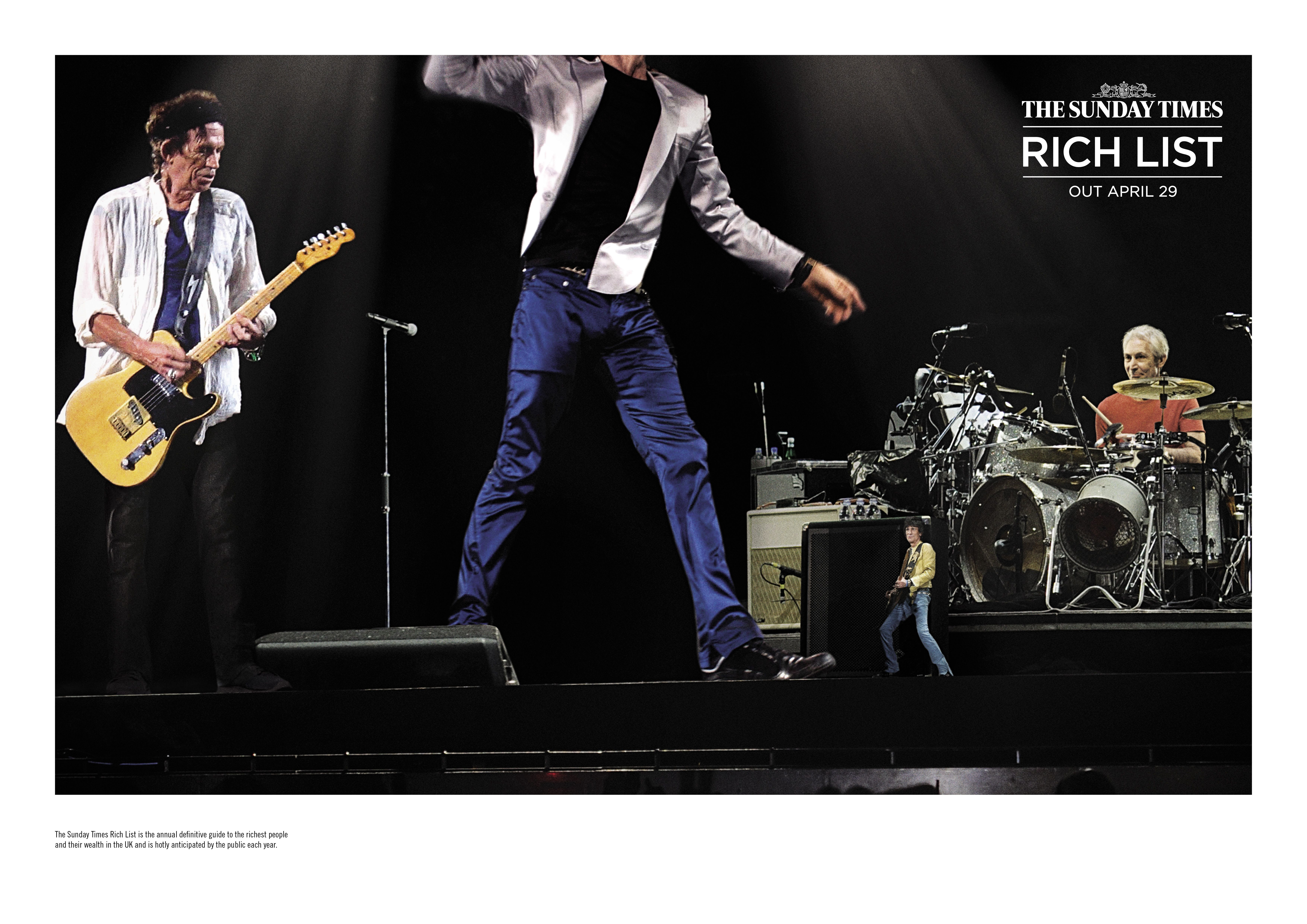 AWARD: CRISTAL & GRAND CRISTAL / CATEGORY: MEDIA / CAMPAIGN: The Sunday Times Rich List campaign: Rolling Stones / ADVERTISER: CHI & Partners / News International / AGENCY: CHI & Partners, UK