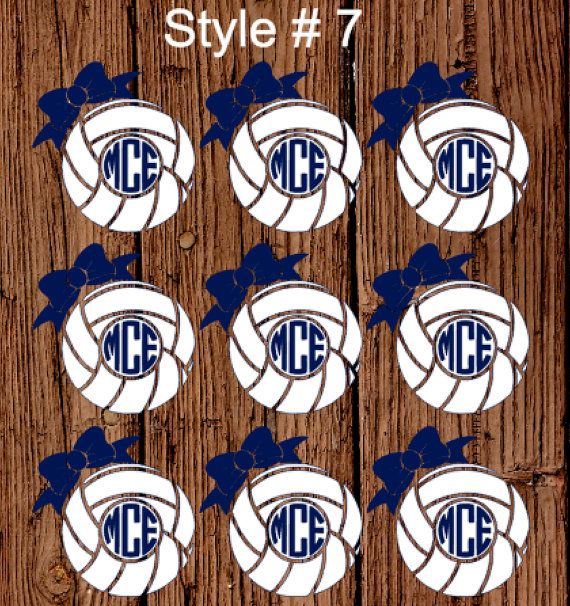 Volleyballs Of Monogram Decals Stickers 1 6 Or 12 Count Decals Yeti Decals Whales Volleyball Decals Ci Monogram Decal Stickers Monogram Decal Yeti Decals